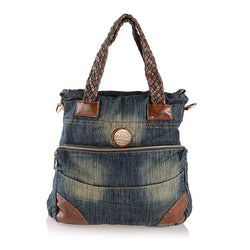 Patchwork Handle Denim Tote,  bag, [product_collection], Lila's Beauty Bag