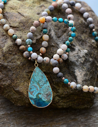 Boho Teardrop Pendant Necklace,  multi layered, [product_collection], Lila's Beauty Bag