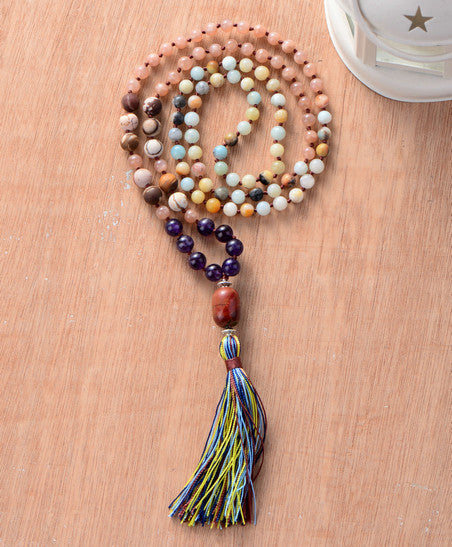 Natural Sun Stones Colorful Mala