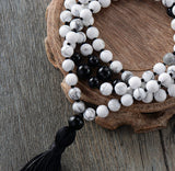 Howlite Black Onyx Long Tassel Necklace,  Mala, [product_collection], Lila's Beauty Bag