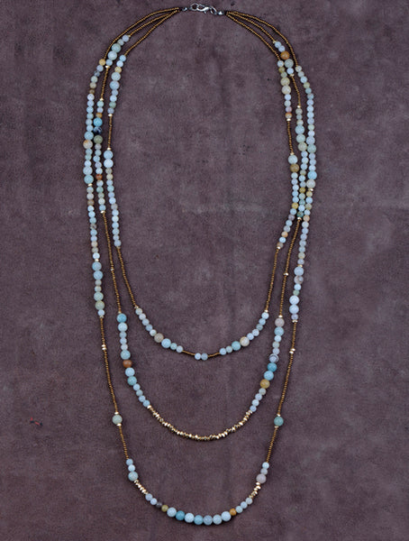 Amazonite and Glass Layered Necklace,  multi layered necklace, [product_collection], Lila's Beauty Bag