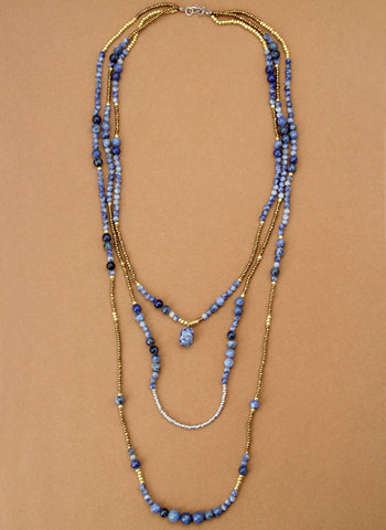 Blue Stone Hot Bohemian Necklace,  multi layered necklace, [product_collection], Lila's Beauty Bag