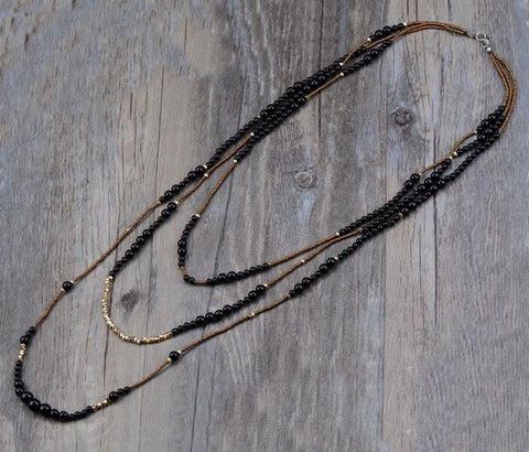 Vintage Black Onyx 3 Layers Necklace,  multi layered, [product_collection], Lila's Beauty Bag