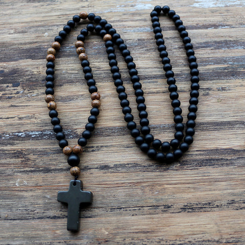 Black Onyx and Wood Cross Mala,  men, [product_collection], Lila's Beauty Bag