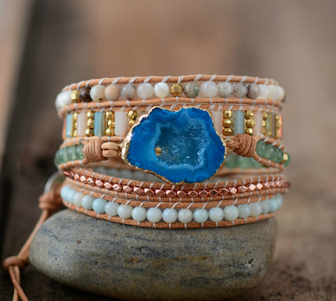 Drusy Charm 5 Strands Wrap Bracelet,  Boho, [product_collection], Lila's Beauty Bag
