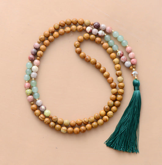 Natural Stones Long Tassel Necklace,  Mala, [product_collection], Lila's Beauty Bag
