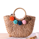 New Pompom Straw Summer Bucket,  bag, [product_collection], Lila's Beauty Bag