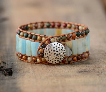 Unique Amazonite Leather Wrap Bracelet,  Boho, [product_collection], Lila's Beauty Bag