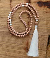 108 Wood Beads White Stone Mala,  Mala, [product_collection], Lila's Beauty Bag