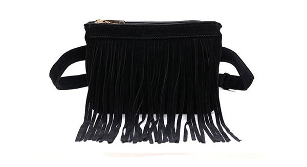 Hippie Tassel Suede Fanny Pack,  bag, [product_collection], Lila's Beauty Bag
