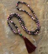 Faceted Rhodonite Tassel Necklace,  Mala, [product_collection], Lila's Beauty Bag