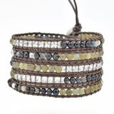Natural Labradorite Beads Leather Wrap,  Boho, [product_collection], Lila's Beauty Bag
