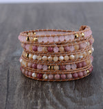 Pink Natural Stones Leather Bracelet,  Boho, [product_collection], Lila's Beauty Bag