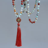 Matte Red Stone & Amazonite Mala,  Mala, [product_collection], Lila's Beauty Bag