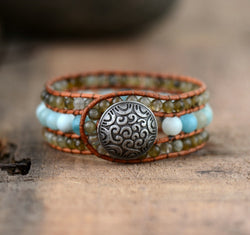 Labradorite and Amazonite Boho Cuff,  Boho, [product_collection], Lila's Beauty Bag