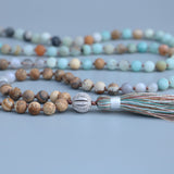 Matte Amazonite and Jasper Stone Mala,  Mala, [product_collection], Lila's Beauty Bag