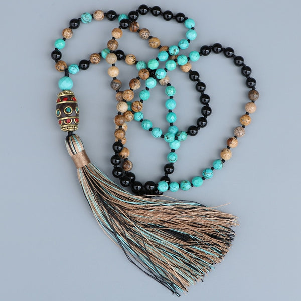New Bead Black Onyx Necklace,  Mala, [product_collection], Lila's Beauty Bag
