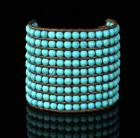 Lila's Beauty Bag9 Rows Turquoise gemstone CuffBoho${product_tags}