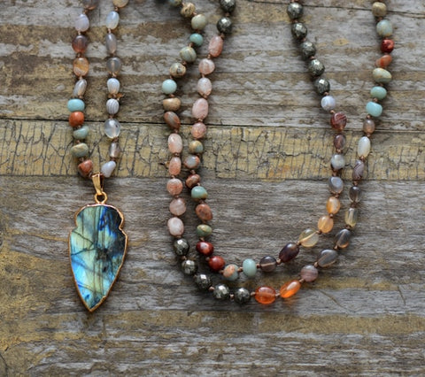 Boho Quartz Labradorite Pendant Necklace,  Boho, [product_collection], Lila's Beauty Bag