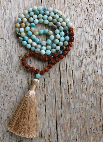 Rudraksha and Amazonite Mala,  Mala, [product_collection], Lila's Beauty Bag