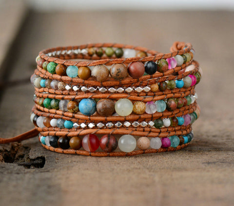 Graduated Natural Stones Multilayers Bracelet,  Boho, [product_collection], Lila's Beauty Bag