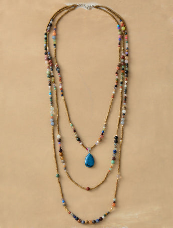 Statement Teardrop Pendant Bohemia Necklace,  multi layered, [product_collection], Lila's Beauty Bag
