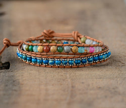 Colorful Natural Stones 2 Strands Wrap Bracelet,  Boho, [product_collection], Lila's Beauty Bag