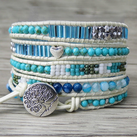 Blue 5 wraps Bohemian Bracelet,  Boho, [product_collection], Lila's Beauty Bag