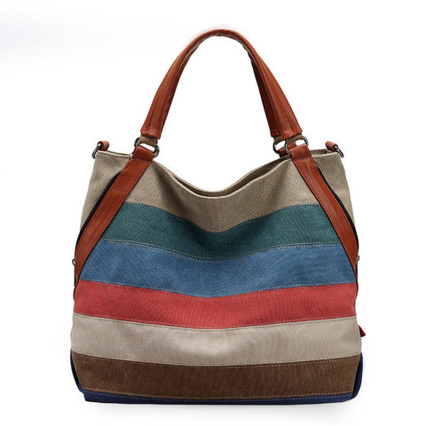 Canvas Striped Colors Summer Bag,  bag, [product_collection], Lila's Beauty Bag