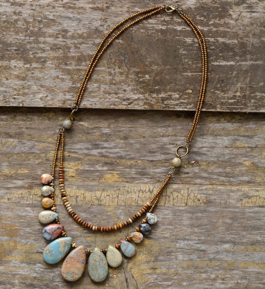 Natural Stones Statement Choker Necklace,  multi layered necklace, [product_collection], Lila's Beauty Bag