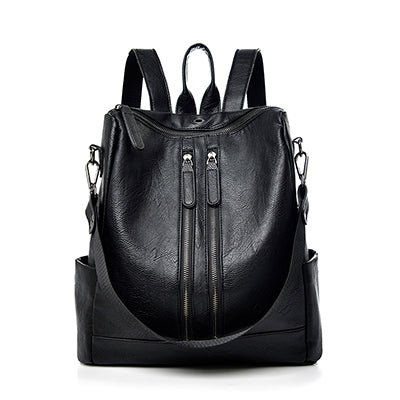 New PU Leather Double Zipper Backpack