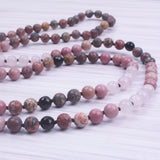 Rhodochrosite and Quartz Mala Necklace,  Mala, [product_collection], Lila's Beauty Bag