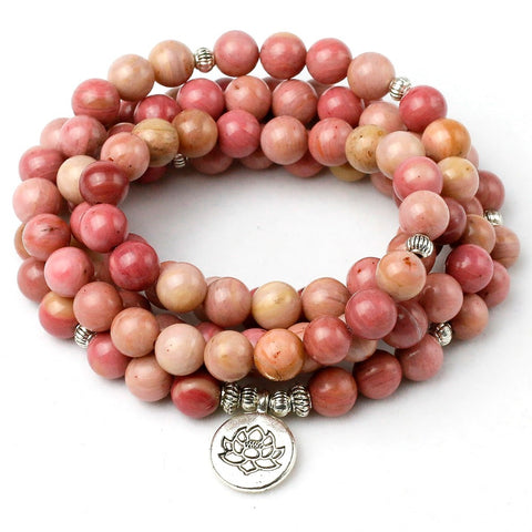 Natural Rhodochrosite Mantra Mala,  Boho, [product_collection], Lila's Beauty Bag