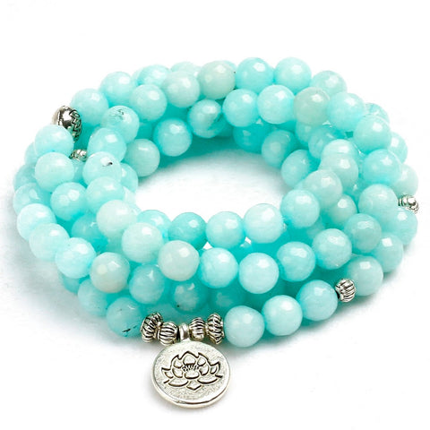 Blue Chalcedony Charm Mala Bracelet,  Boho, [product_collection], Lila's Beauty Bag