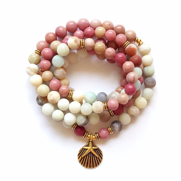 108 Beads Rhodonite Spiritual Mala,  Mala, [product_collection], Lila's Beauty Bag