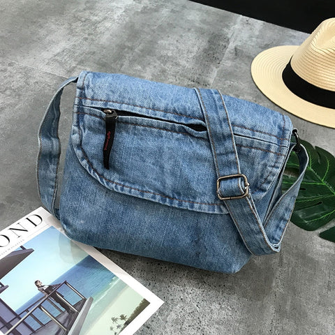 Fashion Flap Denim Messenger Purse,  bag, [product_collection], Lila's Beauty Bag