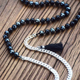 Boho Silver and Black Pendant Necklace,  multi layered necklace, [product_collection], Lila's Beauty Bag