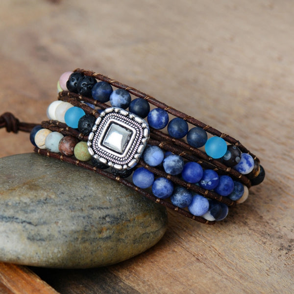 Natural Blue Agate Vintage Bracelet,  Boho, [product_collection], Lila's Beauty Bag
