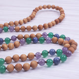 Amethyst and Wood Mala Necklace,  Mala, [product_collection], Lila's Beauty Bag