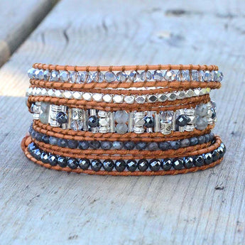 Classic Stones and Crystals Wrap Bracelet,  Boho, [product_collection], Lila's Beauty Bag