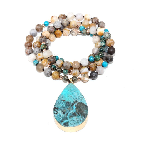 Ocean Stone Pendant Energy Necklace,  multi layered, [product_collection], Lila's Beauty Bag