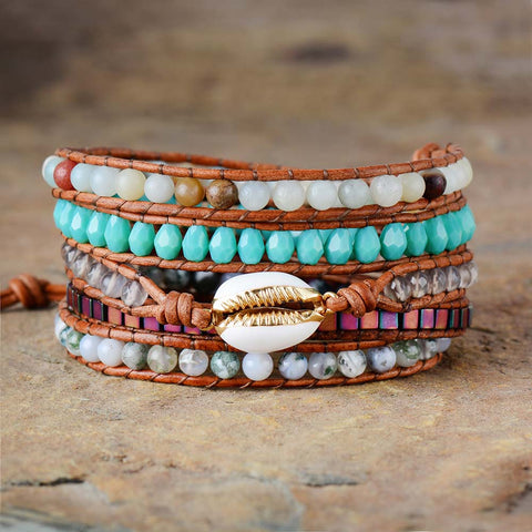 Lila's Beauty BagStone Shell Charm Leather BraceletBoho${product_tags}