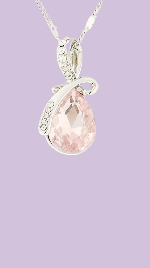 Mermaid Tear Necklace Light Pink