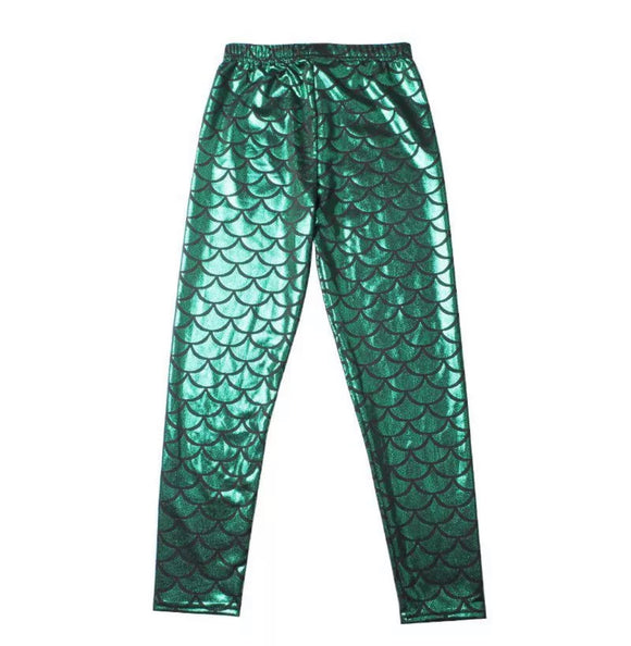 Green mermaid leggings child