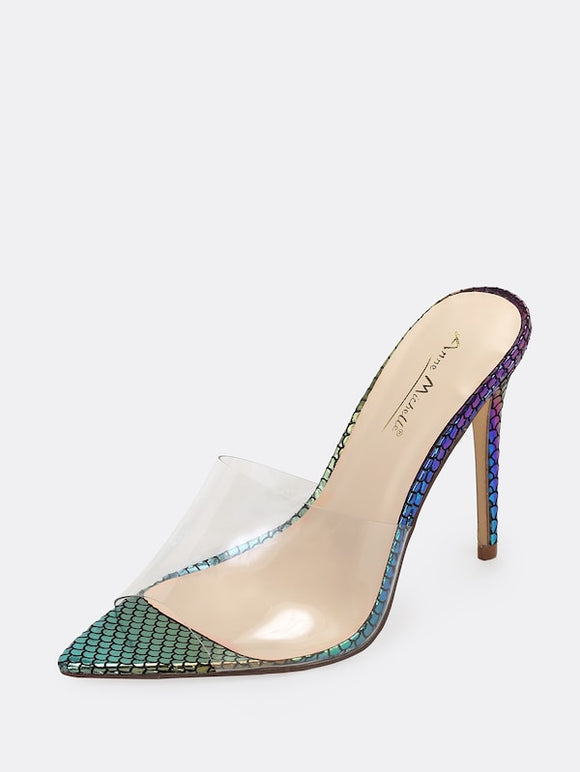 Mermaid Clear Band Open Toe Heels