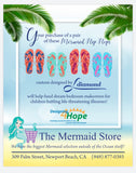 Mermaid off Duty Light Blue Background with Pink Flip Flops