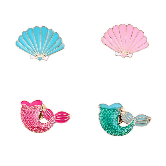 Cute Mermaid Tail and Seashell Pin