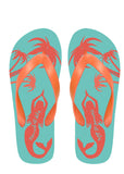 Mermaid off Duty Light Green Background with Orange Flip Flops