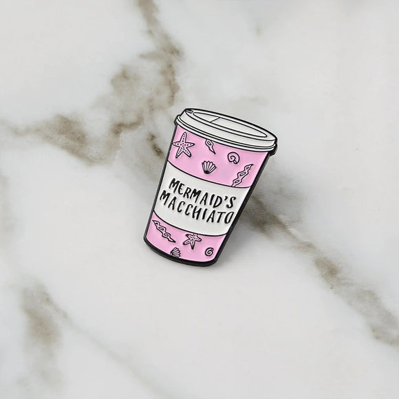Mermaid Macchiato Pink Cup Enamel Pin