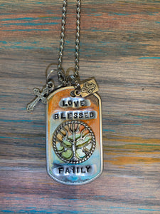 Love blessed family necklace
